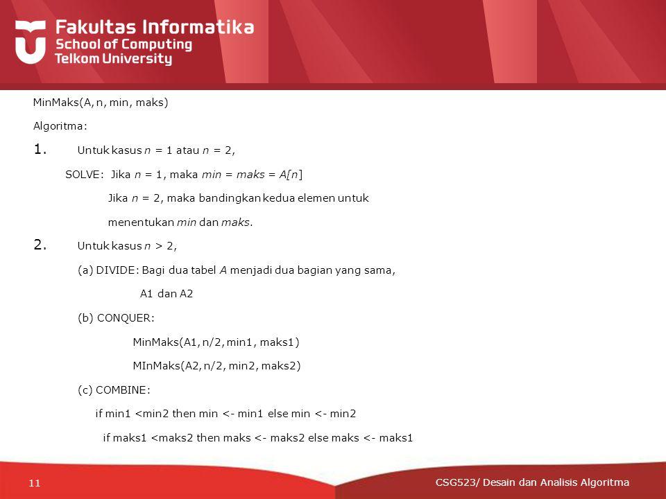 12-CRS-0106 REVISED 8 FEB 2013 MinMaks(A, n, min, maks) Algoritma: 1.