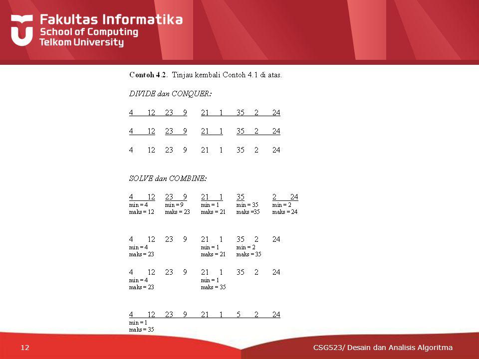 12-CRS-0106 REVISED 8 FEB 2013 12 CSG523/ Desain dan Analisis Algoritma