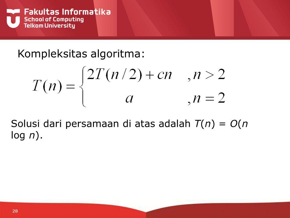 12-CRS-0106 REVISED 8 FEB 2013 28 Kompleksitas algoritma: Solusi dari persamaan di atas adalah T(n) = O(n log n).