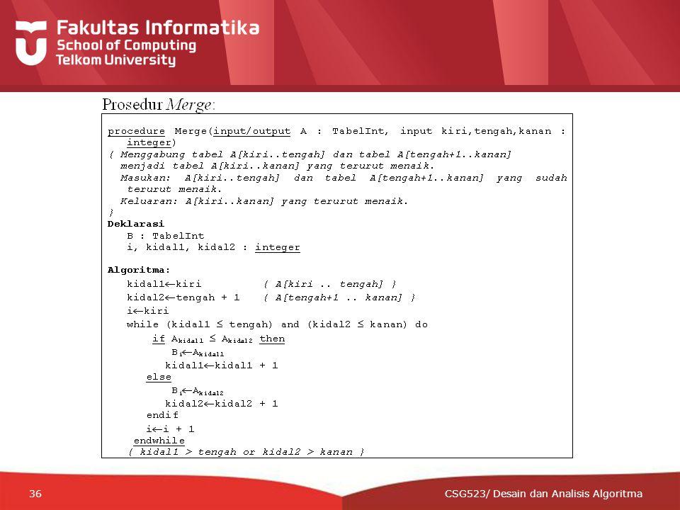 12-CRS-0106 REVISED 8 FEB 2013 36 CSG523/ Desain dan Analisis Algoritma