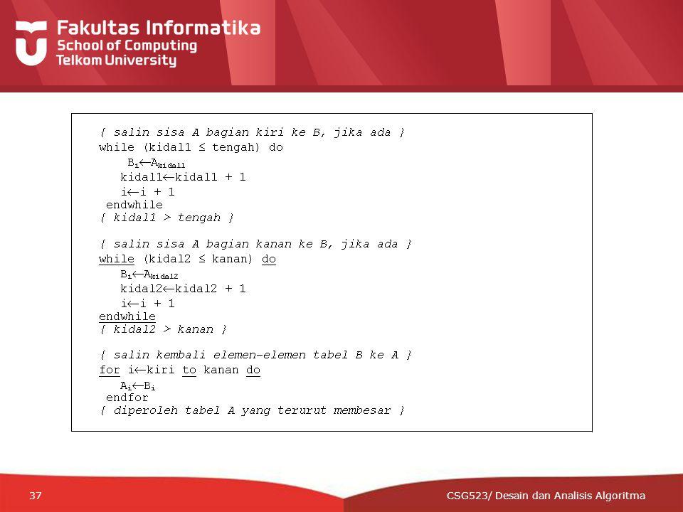 12-CRS-0106 REVISED 8 FEB 2013 37 CSG523/ Desain dan Analisis Algoritma