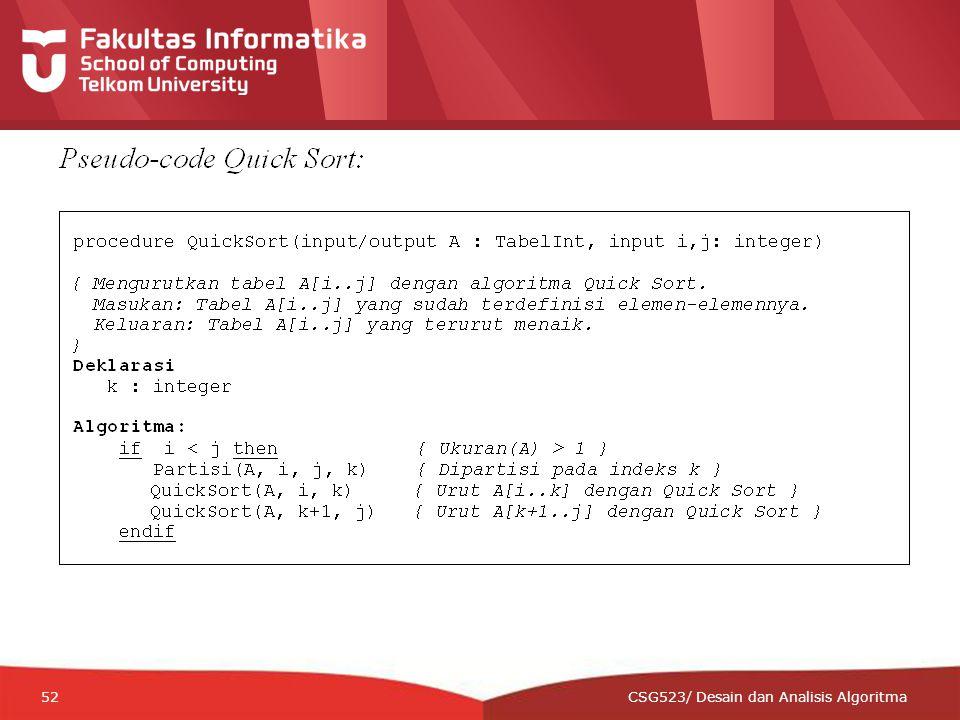 12-CRS-0106 REVISED 8 FEB 2013 52 CSG523/ Desain dan Analisis Algoritma
