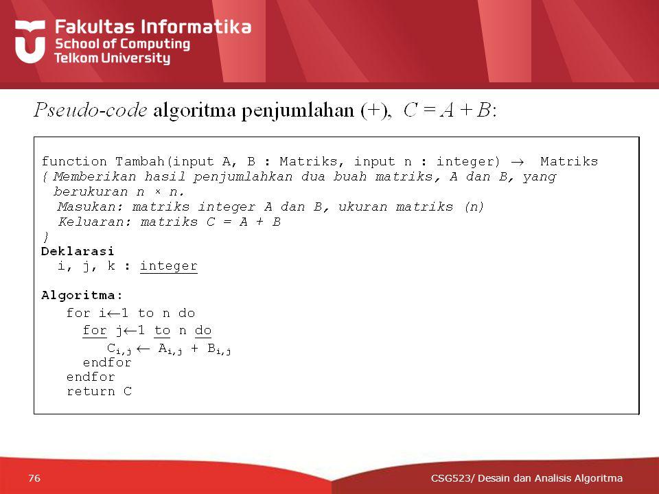12-CRS-0106 REVISED 8 FEB 2013 76 CSG523/ Desain dan Analisis Algoritma