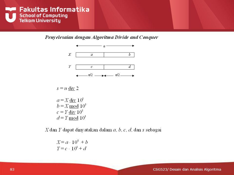 12-CRS-0106 REVISED 8 FEB 2013 83 CSG523/ Desain dan Analisis Algoritma