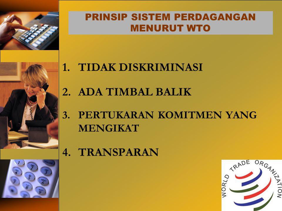 PRINSIP SISTEM PERDAGANGAN MENURUT WTO 1.TIDAK DISKRIMINASI 2.ADA TIMBAL BALIK 3.PERTUKARAN KOMITMEN YANG MENGIKAT 4.TRANSPARAN 20