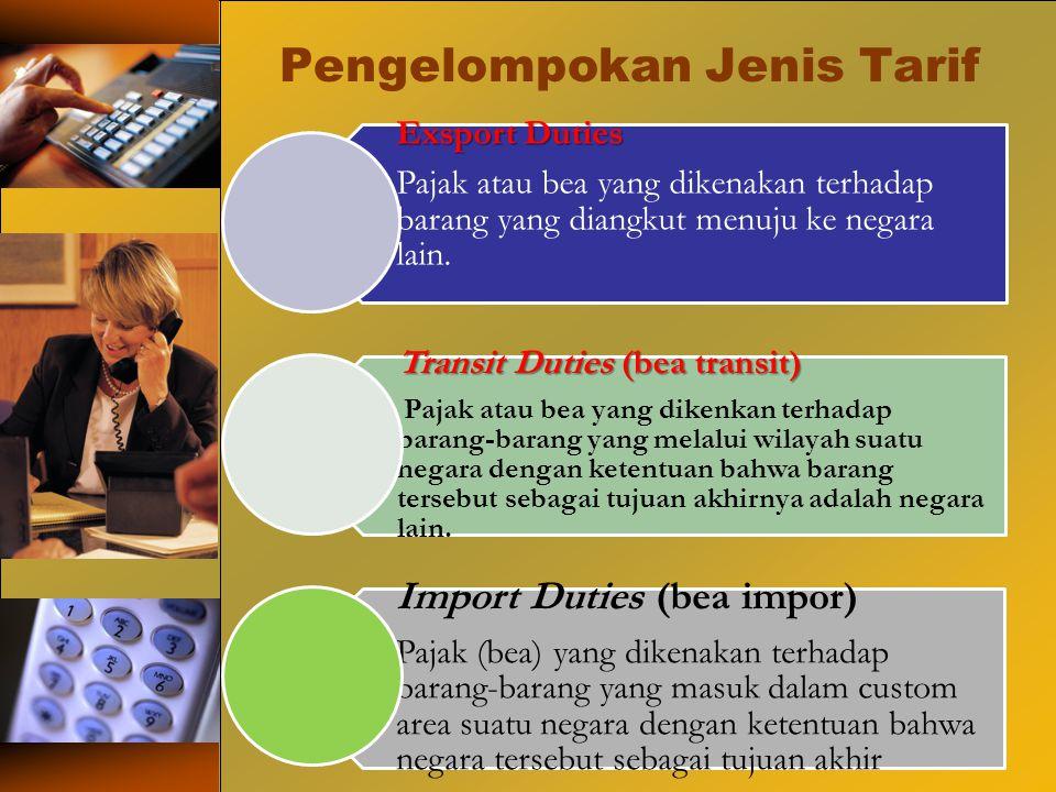 Pengelompokan Jenis Tarif Exsport Duties Pajak atau bea yang dikenakan terhadap barang yang diangkut menuju ke negara lain. Transit Duties (bea transi