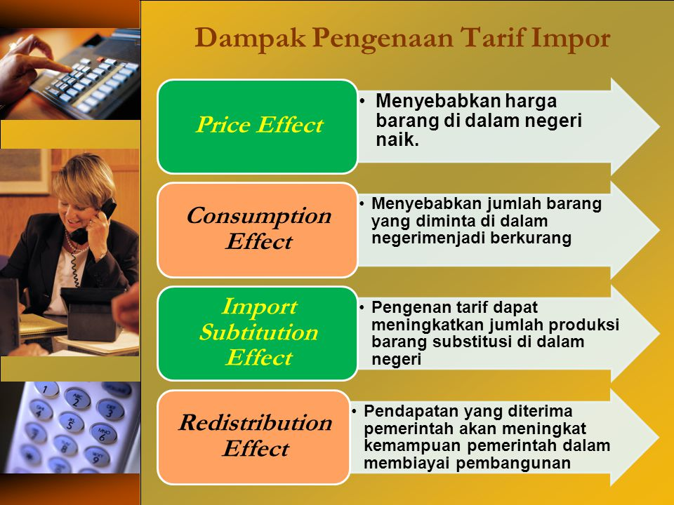Dampak Pengenaan Tarif Impor Menyebabkan harga barang di dalam negeri naik. Price Effect Menyebabkan jumlah barang yang diminta di dalam negerimenjadi