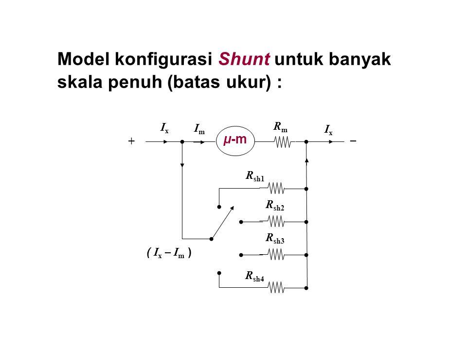 Model konfigurasi Shunt untuk banyak skala penuh (batas ukur) : μ-m RmRm + ImIm IxIx ( I x – I m ) R sh1 R sh2 R sh3 R sh4 _ IxIx