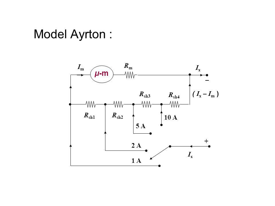 Model Ayrton : μ-m RmRm + ImIm ( I x – I m ) R sh1 R sh2 R sh3 R sh4 _ 1 A 2 A 5 A 10 A IxIx IxIx