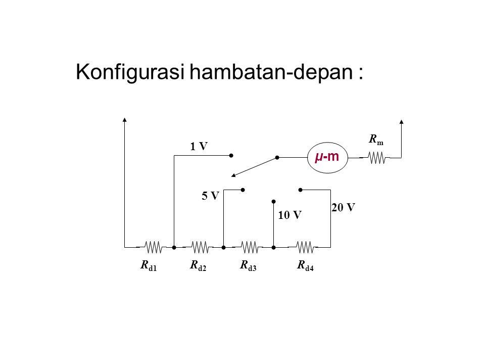 Konfigurasi hambatan-depan : μ-m RmRm R d1 20 V 1 V 5 V 10 V R d2 R d3 R d4