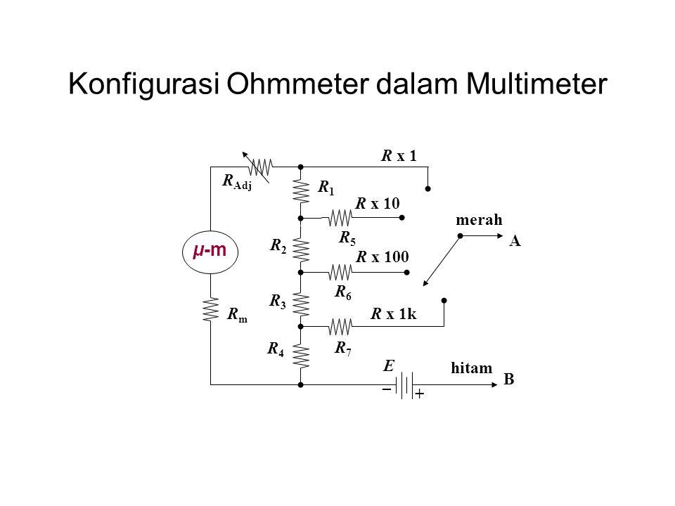 Konfigurasi Ohmmeter dalam Multimeter R1R1 μ-m RmRm R x 10 hitam E R3R3 R4R4 R2R2 R5R5 R6R6 R7R7 R Adj R x 1k R x 1 R x 100 merah _ + A B