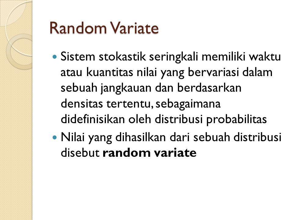Random Variate Sistem stokastik seringkali memiliki waktu atau kuantitas nilai yang bervariasi dalam sebuah jangkauan dan berdasarkan densitas tertent