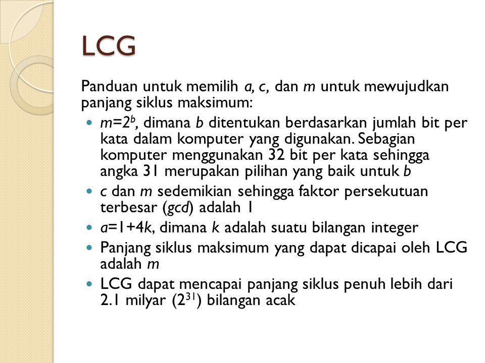 LCG Panduan untuk memilih a, c, dan m untuk mewujudkan panjang siklus maksimum: m=2 b, dimana b ditentukan berdasarkan jumlah bit per kata dalam kompu