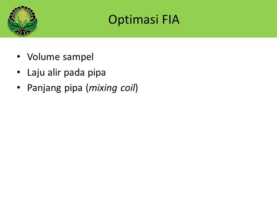 Volume sampel Laju alir pada pipa Panjang pipa (mixing coil) Optimasi FIA