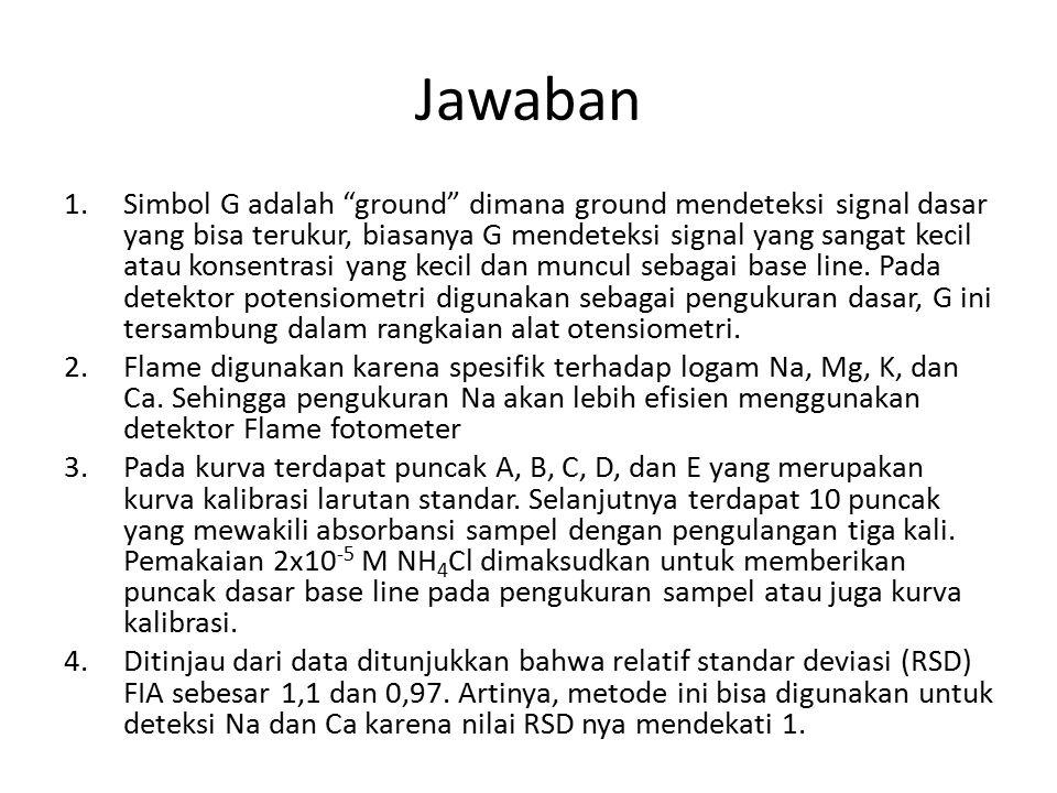 Jawaban 1.Simbol G adalah ground dimana ground mendeteksi signal dasar yang bisa terukur, biasanya G mendeteksi signal yang sangat kecil atau konsentrasi yang kecil dan muncul sebagai base line.