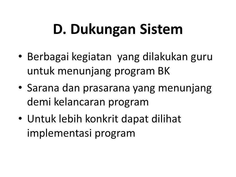 D. Dukungan Sistem Berbagai kegiatan yang dilakukan guru untuk menunjang program BK Sarana dan prasarana yang menunjang demi kelancaran program Untuk