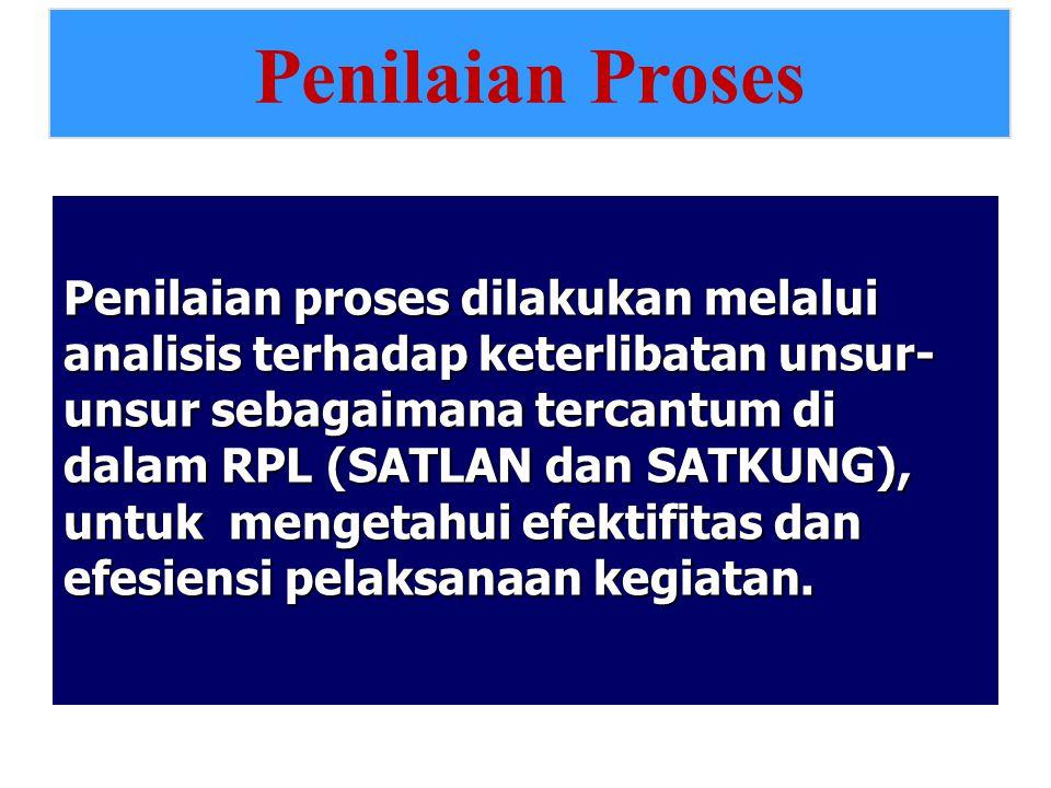 Penilaian proses dilakukan melalui analisis terhadap keterlibatan unsur- unsur sebagaimana tercantum di dalam RPL (SATLAN dan SATKUNG), untuk mengetah