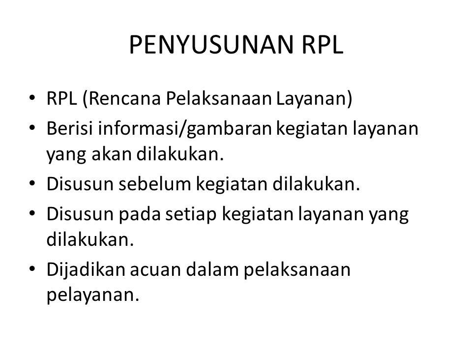PENYUSUNAN RPL RPL (Rencana Pelaksanaan Layanan) Berisi informasi/gambaran kegiatan layanan yang akan dilakukan. Disusun sebelum kegiatan dilakukan. D
