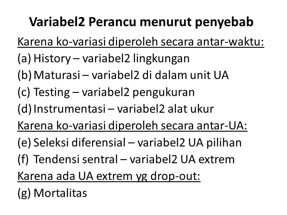 Variabel2 Perancu menurut penyebab Karena ko-variasi diperoleh secara antar-waktu: (a)History – variabel2 lingkungan (b)Maturasi – variabel2 di dalam