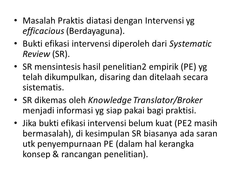 Masalah Praktis diatasi dengan Intervensi yg efficacious (Berdayaguna). Bukti efikasi intervensi diperoleh dari Systematic Review (SR). SR mensintesis