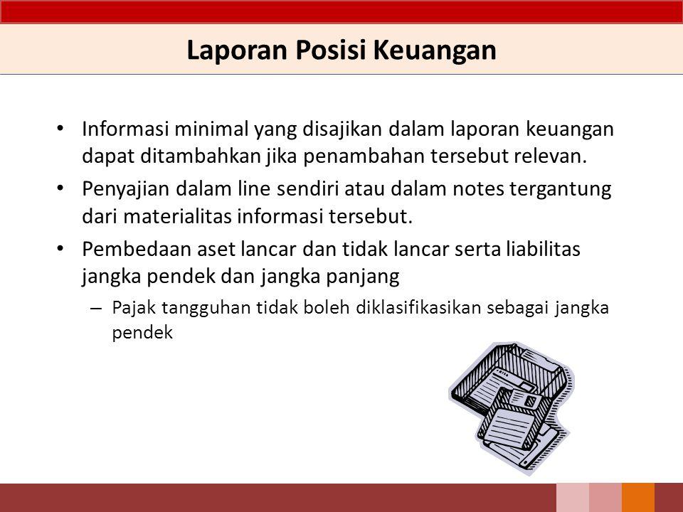 Laporan Posisi Keuangan Informasi minimal yang disajikan dalam laporan keuangan dapat ditambahkan jika penambahan tersebut relevan.
