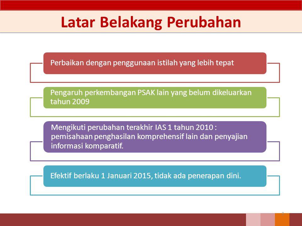 Latar Belakang Perubahan 3 Perbaikan dengan penggunaan istilah yang lebih tepat Pengaruh perkembangan PSAK lain yang belum dikeluarkan tahun 2009 Mengikuti perubahan terakhir IAS 1 tahun 2010 : pemisahaan penghasilan komprehensif lain dan penyajian informasi komparatif.