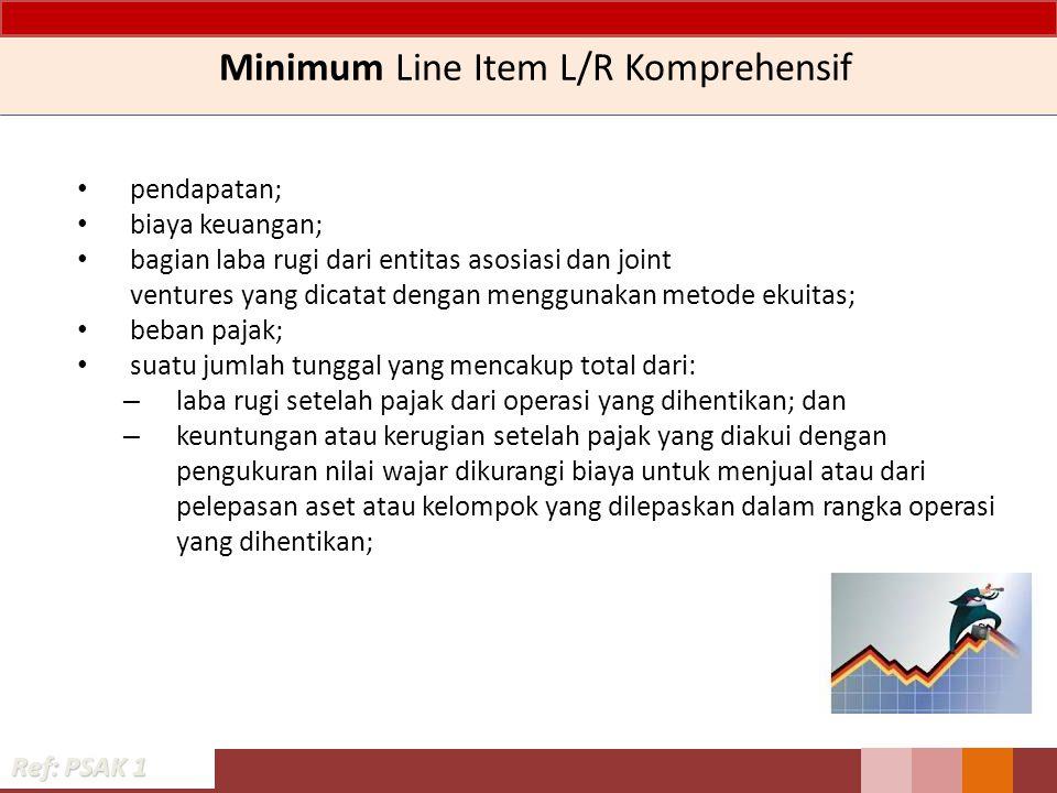 Minimum Line Item L/R Komprehensif pendapatan; biaya keuangan; bagian laba rugi dari entitas asosiasi dan joint ventures yang dicatat dengan menggunak