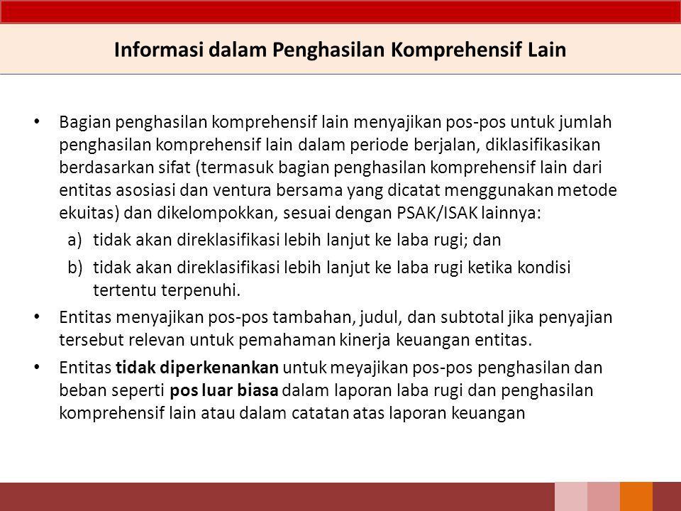 Informasi dalam Penghasilan Komprehensif Lain Bagian penghasilan komprehensif lain menyajikan pos-pos untuk jumlah penghasilan komprehensif lain dalam