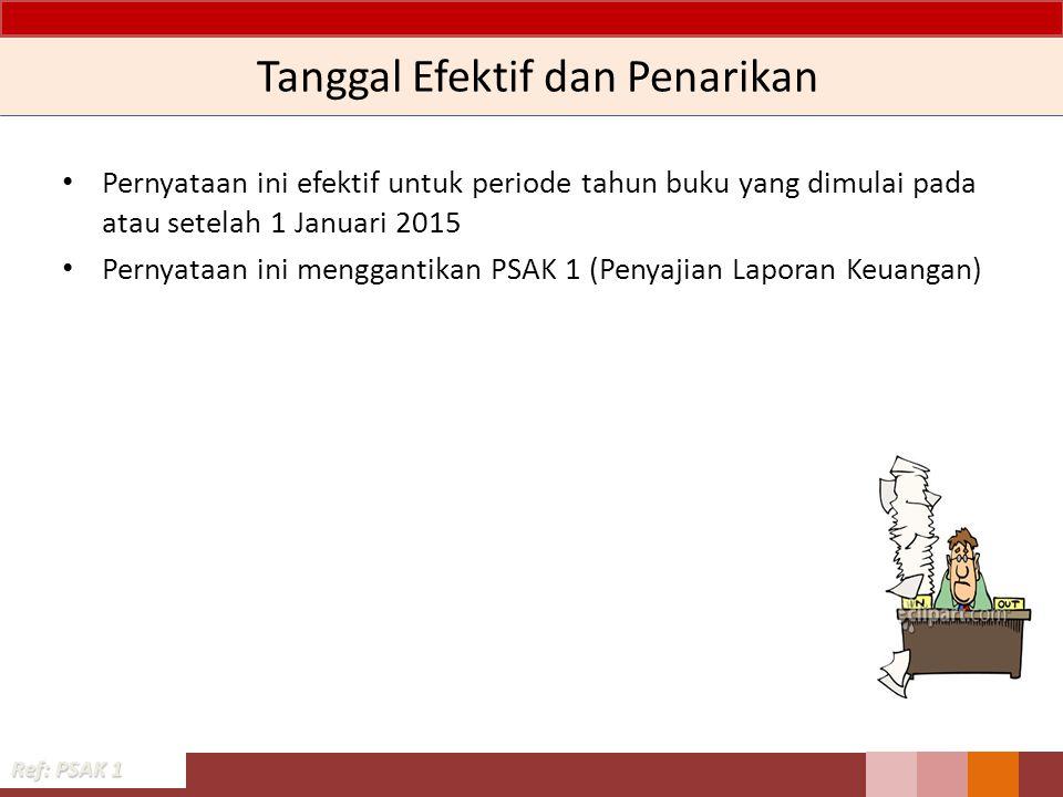 Tanggal Efektif dan Penarikan Pernyataan ini efektif untuk periode tahun buku yang dimulai pada atau setelah 1 Januari 2015 Pernyataan ini menggantikan PSAK 1 (Penyajian Laporan Keuangan) Ref: PSAK 1