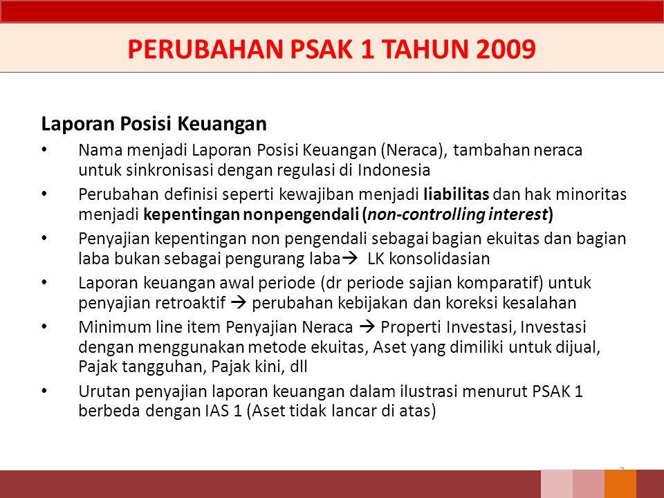 PERUBAHAN PSAK 1 TAHUN 2009 Laporan Posisi Keuangan Nama menjadi Laporan Posisi Keuangan (Neraca), tambahan neraca untuk sinkronisasi dengan regulasi
