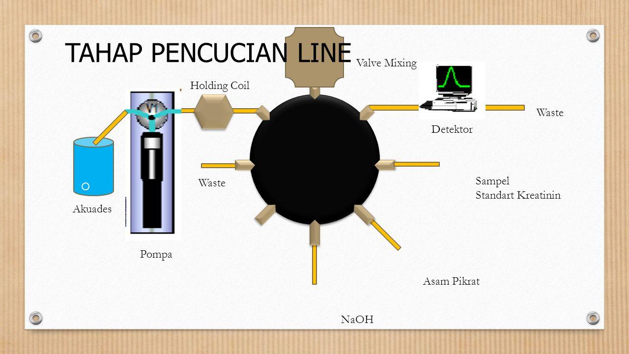 Sampel Standart Kreatinin Asam Pikrat NaOH Valve Mixing Holding Coil Detektor Waste Pompa Akuades TAHAP PENCUCIAN LINE