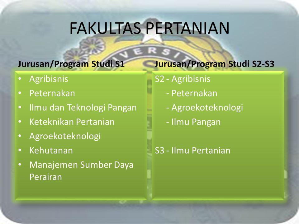 FAKULTAS PERTANIAN Jurusan/Program Studi S1 Agribisnis Peternakan Ilmu dan Teknologi Pangan Keteknikan Pertanian Agroekoteknologi Kehutanan Manajemen