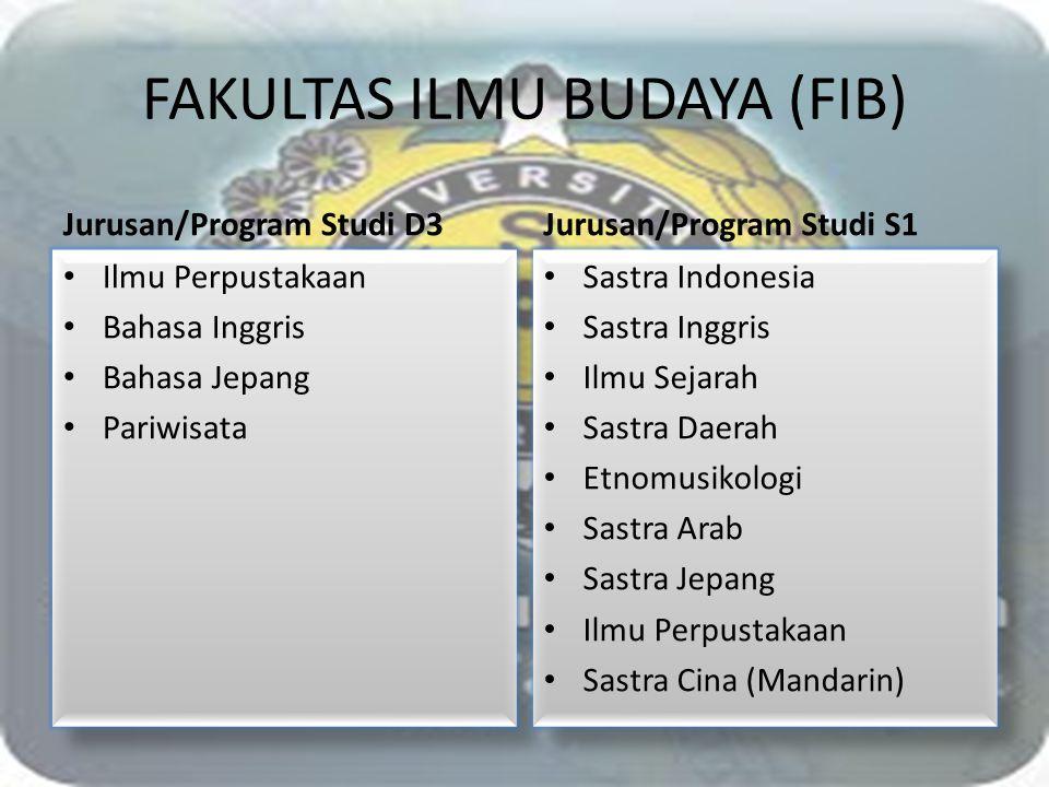 FAKULTAS ILMU BUDAYA (FIB) Jurusan/Program Studi D3 Ilmu Perpustakaan Bahasa Inggris Bahasa Jepang Pariwisata Ilmu Perpustakaan Bahasa Inggris Bahasa