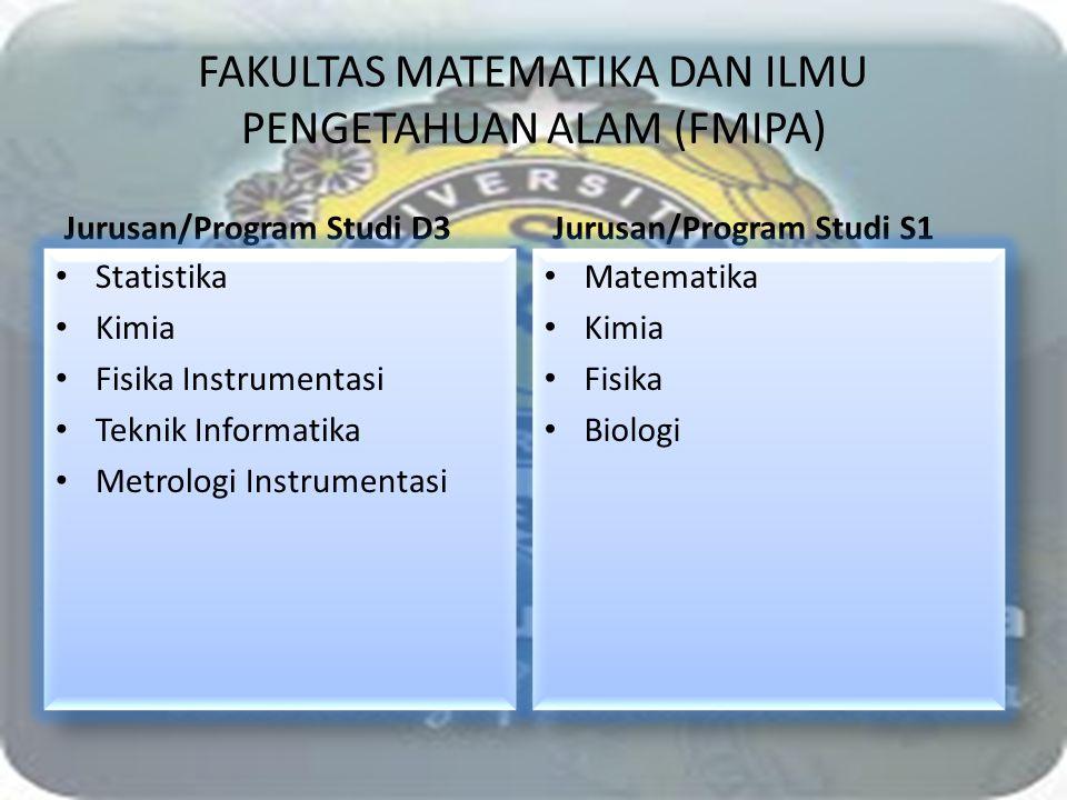 FAKULTAS MATEMATIKA DAN ILMU PENGETAHUAN ALAM (FMIPA) Jurusan/Program Studi D3 Statistika Kimia Fisika Instrumentasi Teknik Informatika Metrologi Inst