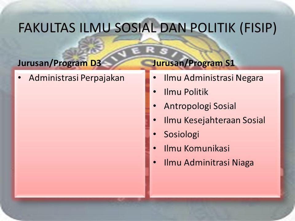 FAKULTAS ILMU SOSIAL DAN POLITIK (FISIP) Jurusan/Program D3 Administrasi Perpajakan Jurusan/Program S1 Ilmu Administrasi Negara Ilmu Politik Antropolo