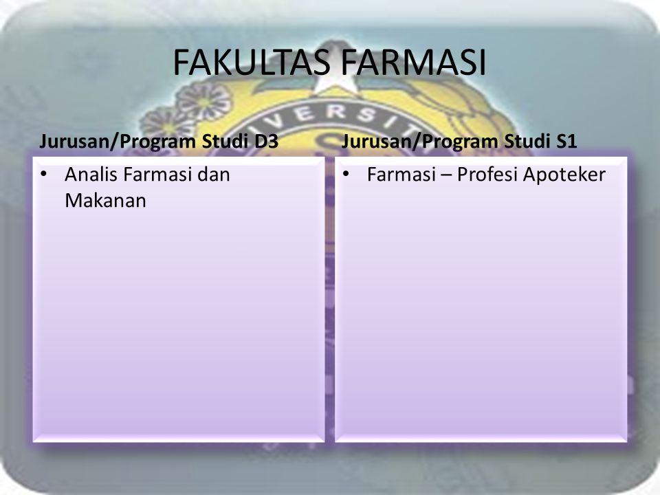 FAKULTAS FARMASI Jurusan/Program Studi D3 Analis Farmasi dan Makanan Jurusan/Program Studi S1 Farmasi – Profesi Apoteker