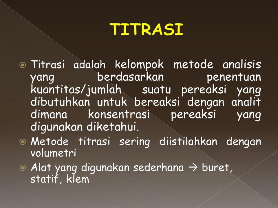  Titrasi adalah k elompok metode analisis yang berdasarkan penentuan kuantitas/jumlah suatu pereaksi yang dibutuhkan untuk bereaksi dengan analit dim