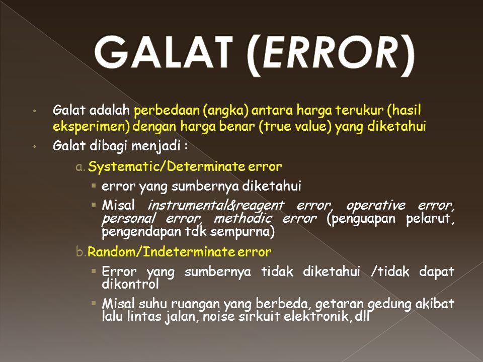 Galat adalah perbedaan (angka) antara harga terukur (hasil eksperimen) dengan harga benar (true value) yang diketahui Galat dibagi menjadi : a.Systema