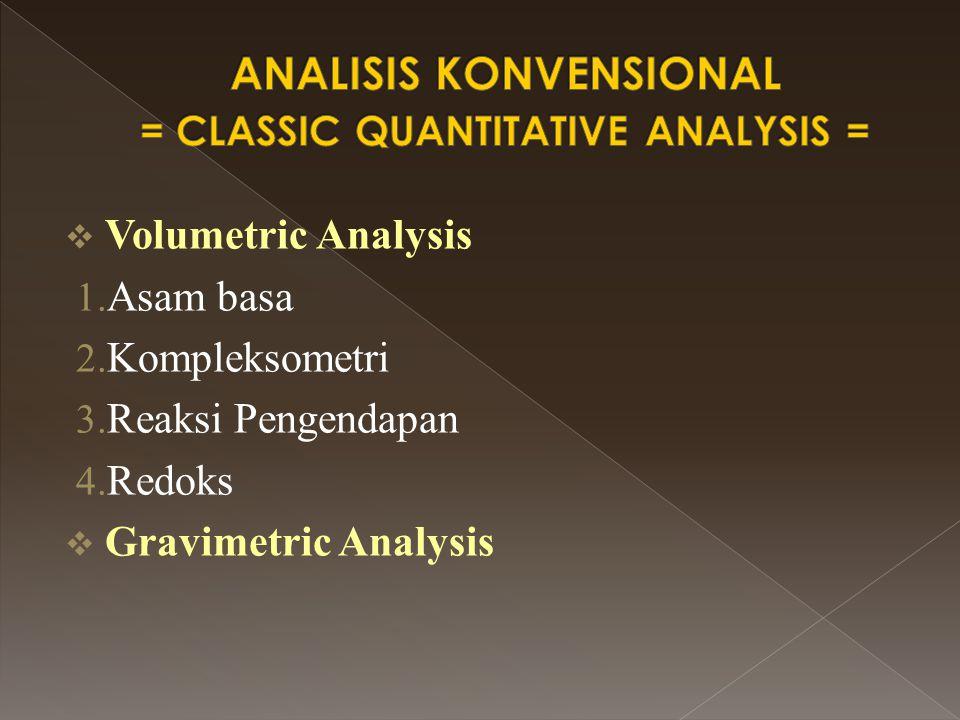  Volumetric Analysis 1. Asam basa 2. Kompleksometri 3. Reaksi Pengendapan 4. Redoks  Gravimetric Analysis