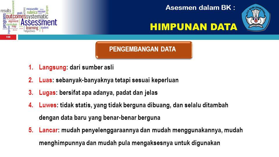 108 Asesmen dalam BK : HIMPUNAN DATA PENGEMBANGAN DATA 1.Langsung: dari sumber asli 2.Luas: sebanyak-banyaknya tetapi sesuai keperluan 3.Lugas: bersif