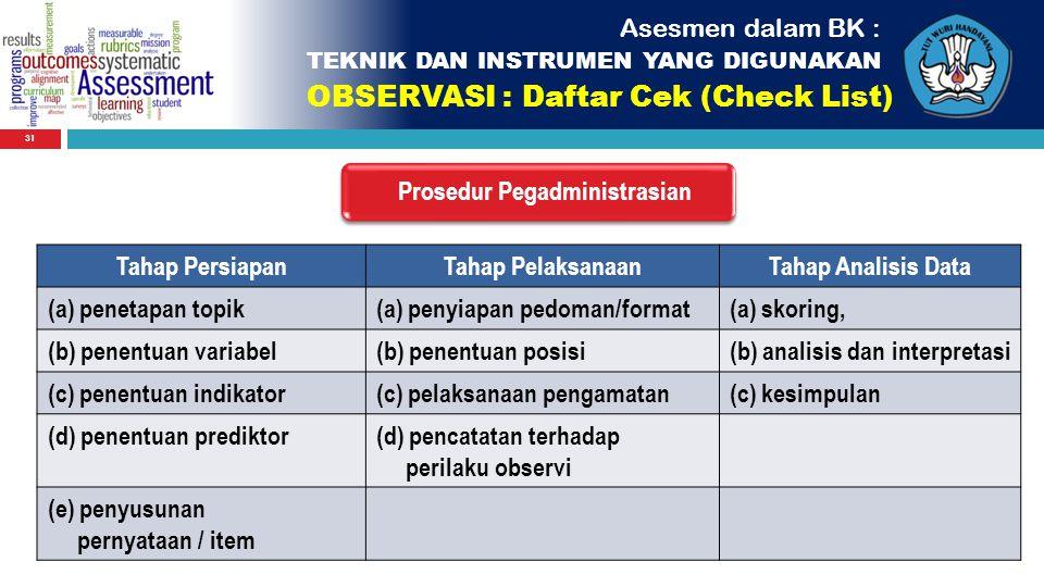 31 Asesmen dalam BK : TEKNIK DAN INSTRUMEN YANG DIGUNAKAN OBSERVASI : Daftar Cek (Check List) Prosedur Pegadministrasian Tahap PersiapanTahap Pelaksan