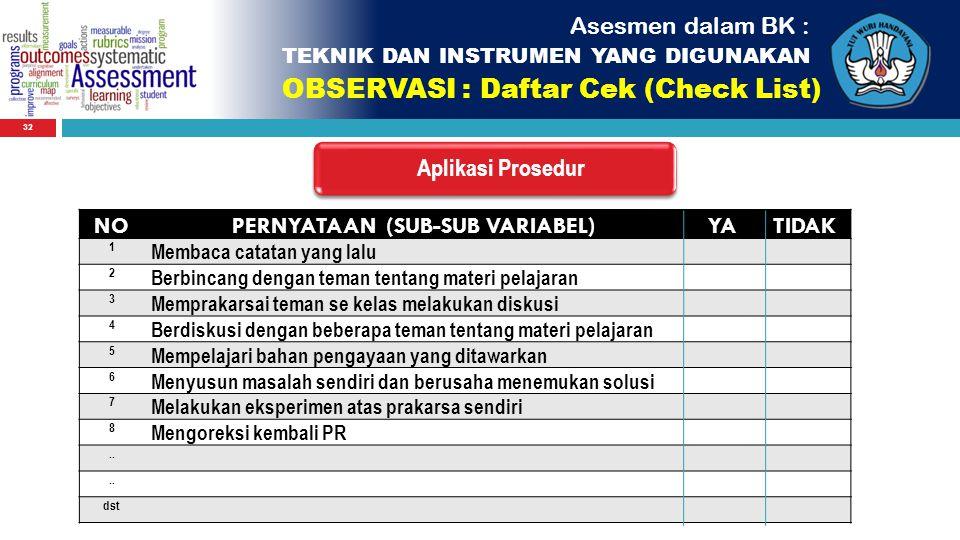32 Asesmen dalam BK : TEKNIK DAN INSTRUMEN YANG DIGUNAKAN OBSERVASI : Daftar Cek (Check List) NOPERNYATAAN (SUB-SUB VARIABEL)YATIDAK 1 Membaca catatan