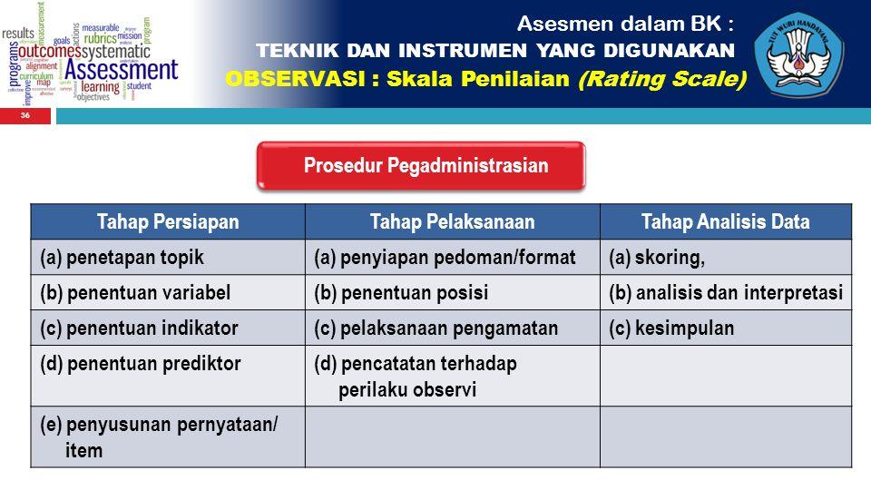36 Asesmen dalam BK : TEKNIK DAN INSTRUMEN YANG DIGUNAKAN OBSERVASI : Skala Penilaian (Rating Scale) Prosedur Pegadministrasian Tahap PersiapanTahap P