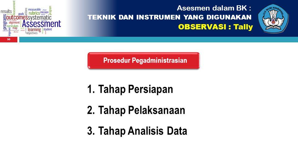 50 Asesmen dalam BK : TEKNIK DAN INSTRUMEN YANG DIGUNAKAN OBSERVASI : Tally Prosedur Pegadministrasian 1.Tahap Persiapan 2.Tahap Pelaksanaan 3.Tahap A