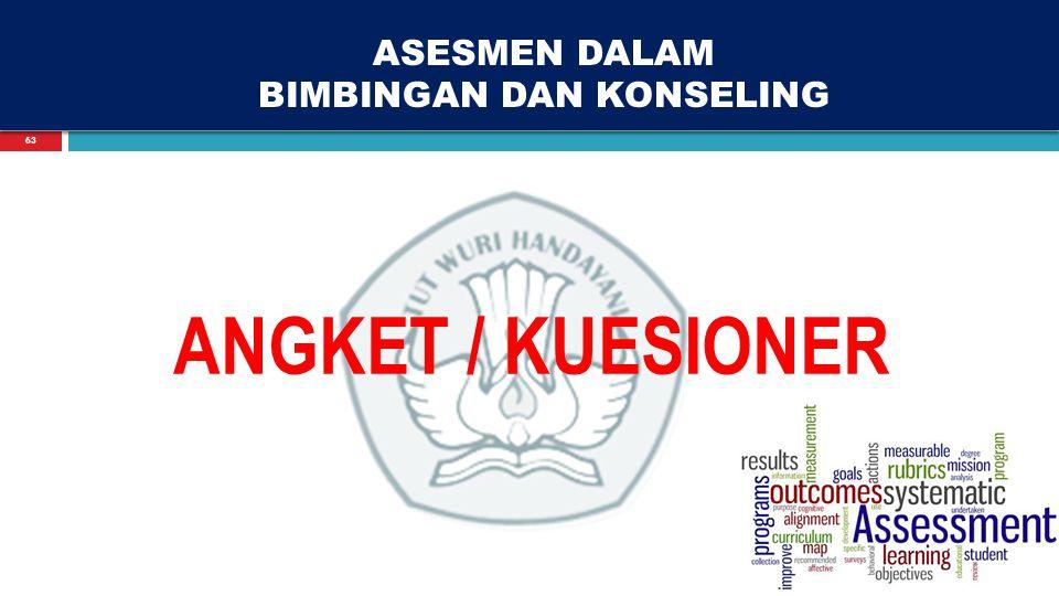 63 ASESMEN DALAM BIMBINGAN DAN KONSELING ANGKET / KUESIONER