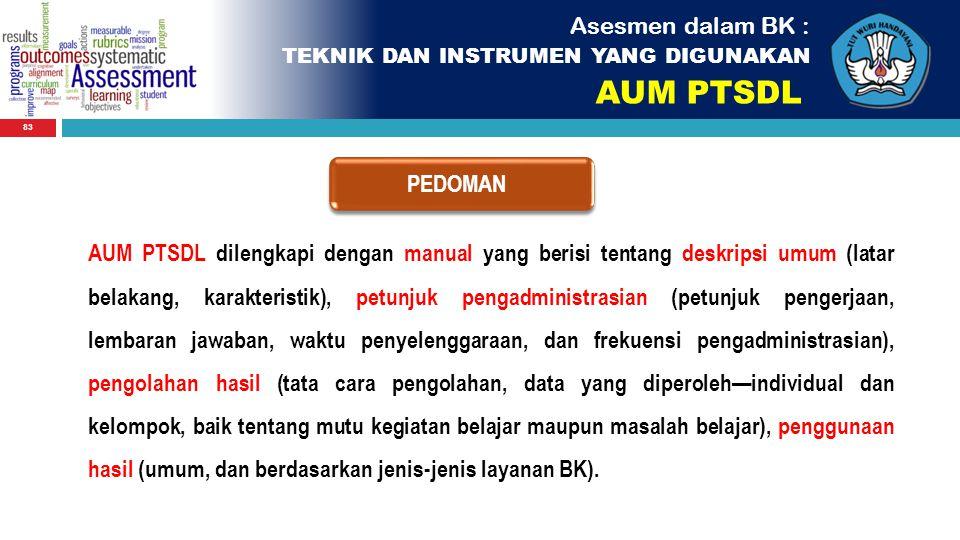 83 Asesmen dalam BK : TEKNIK DAN INSTRUMEN YANG DIGUNAKAN AUM PTSDL PEDOMAN AUM PTSDL dilengkapi dengan manual yang berisi tentang deskripsi umum (lat