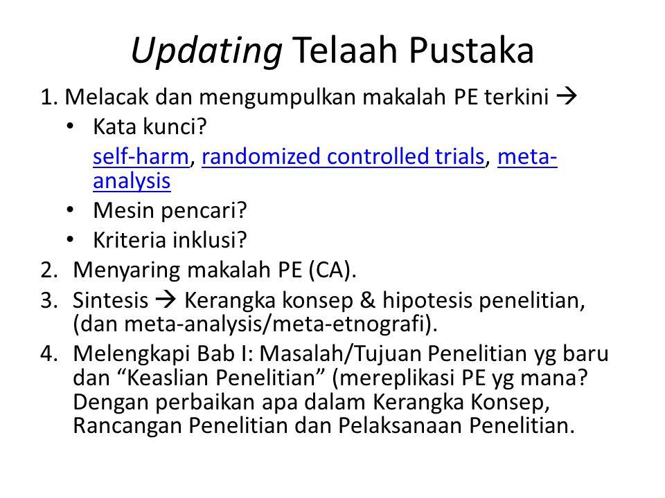 Updating Telaah Pustaka 1. Melacak dan mengumpulkan makalah PE terkini  Kata kunci.