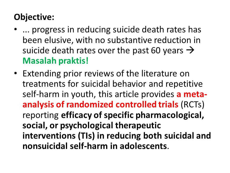 Objective:... progress in reducing suicide death rates has been elusive, with no substantive reduction in suicide death rates over the past 60 years 