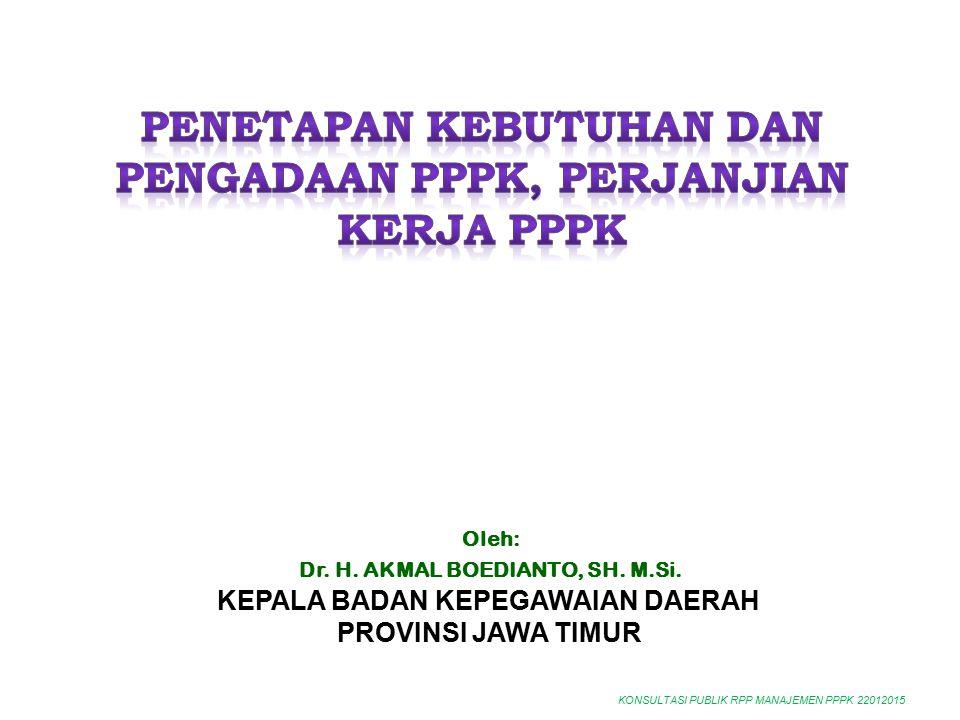 KONSULTASI PUBLIK RPP MANAJEMEN PPPK 22012015 Oleh: Dr. H. AKMAL BOEDIANTO, SH. M.Si. KEPALA BADAN KEPEGAWAIAN DAERAH PROVINSI JAWA TIMUR