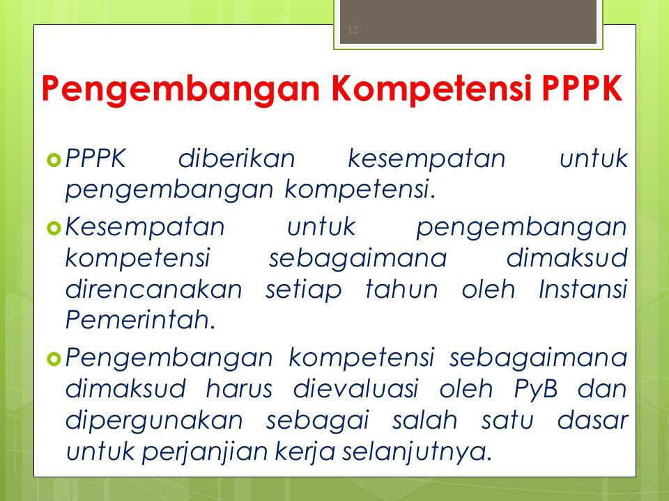 Pengembangan Kompetensi PPPK  PPPK diberikan kesempatan untuk pengembangan kompetensi.  Kesempatan untuk pengembangan kompetensi sebagaimana dimaksu
